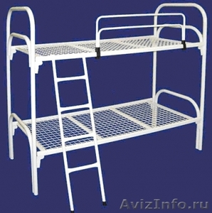 Двухъярусные железные кровати, для казарм, металлические кровати с ДСП спинкой - Изображение #1, Объявление #1479827