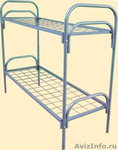 Двухъярусные железные кровати, для казарм, металлические кровати с ДСП спинкой - Изображение #4, Объявление #1479827